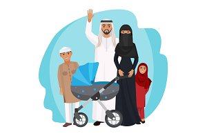 Friendly Arabic cartoon family stands together isolated illustration
