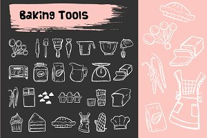 Baking tools doodle icons