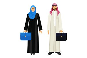 Arabic businessman and businesswoman with leather diplomats illustration