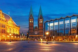 Ancient Bremen Market Square in Bremen, Germany