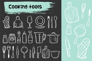 Cooking tools doodle icons