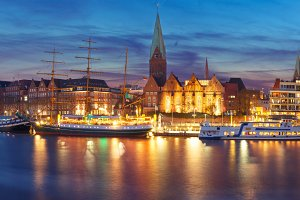 Weser River and St Martin Church, Bremen, Germany