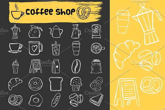 Coffee shop doodle icons