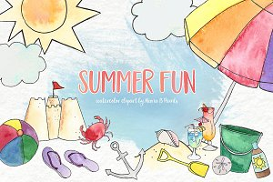 Watercolor Clip Art - Summer Beach