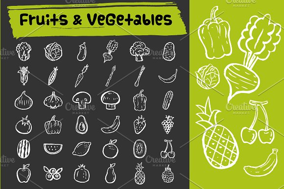 Fruits & vegetables doodle icons