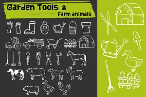 Garden tools & farm animals doodle