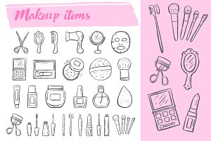 Makeup items doodle icons