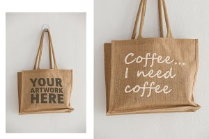 Tote Bag With Graphic Mockup