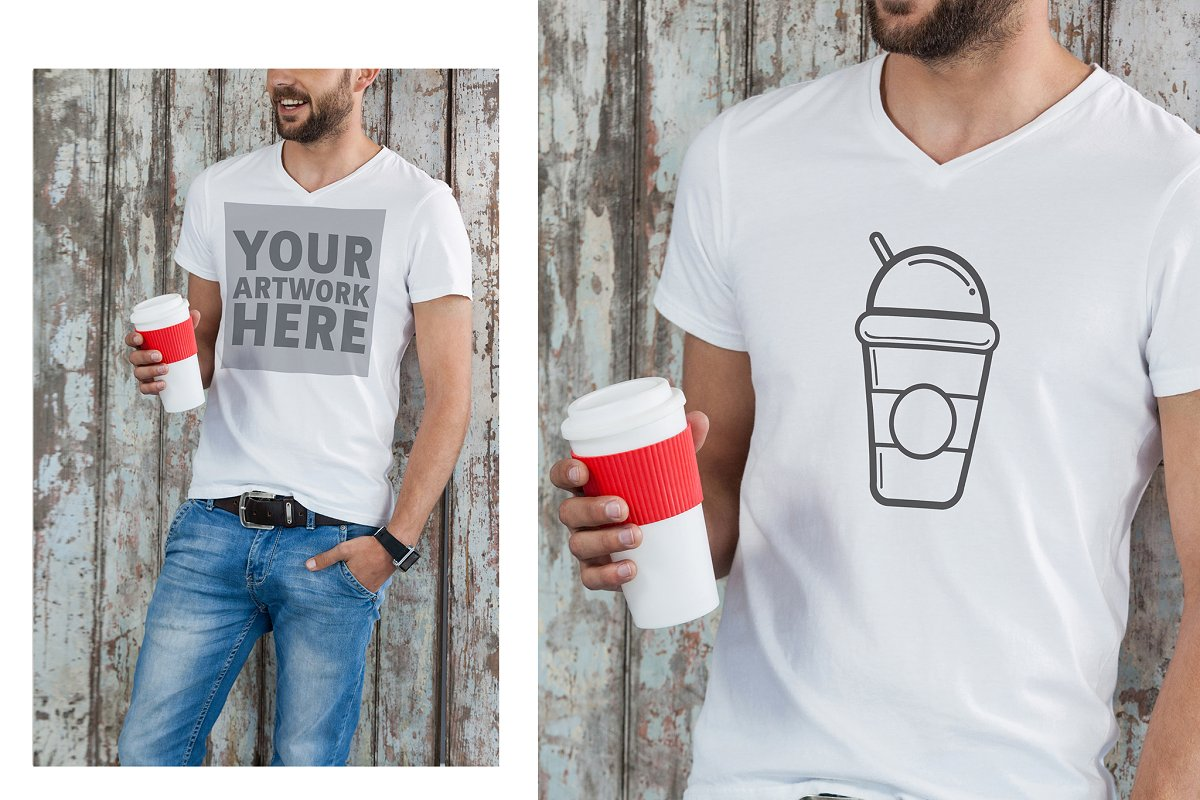 Man With Graphic T-Shirt Mockup in Templates