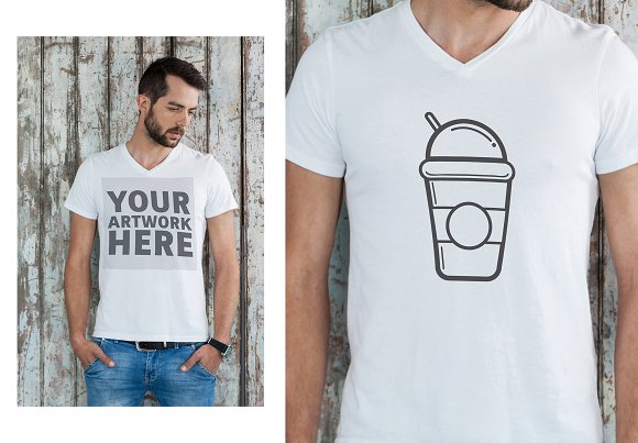 Man In T-Shirt With Graphic Mockup
