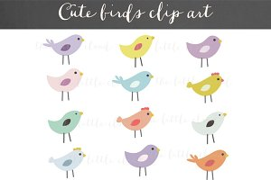 Cute birds clipart vector+PNG
