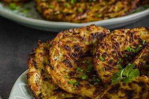Potato pancakes fried with garlic