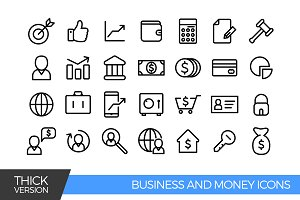 Business and money thick icons
