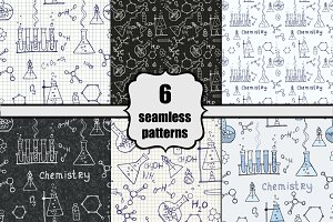 chemistry doodle seamless patterns