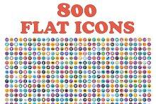 Set of 800 flat icons.