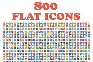 Set of 800 flat icons.