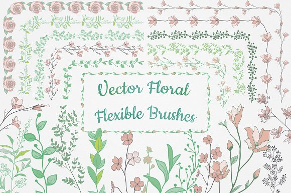 -90% Flexible Floral Brushes