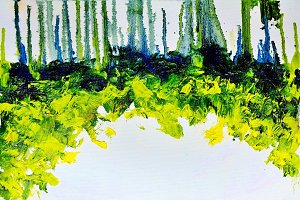 Abstract colorful green summer forest strip