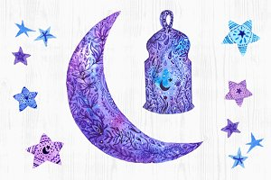 Ramadan Kareem. Watercolor elements.