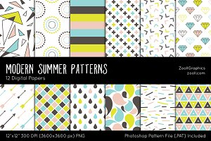 Modern Summer Digital Papers