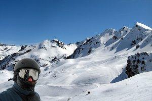 Winter Selfie in Ski resort