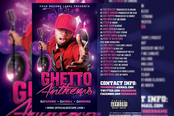 Ghetto Anthems CD Cover Template in Templates