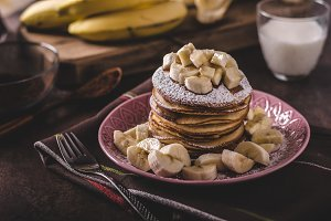 American pancakes with banana, chocolate