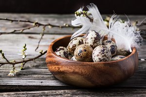 Bowl of quail eggs with blossom bran