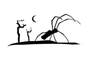 Dark Scene Silhouette Style Graphic Illustration