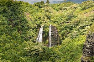 Opaekaa Falls in Hawaiian island of Kauai