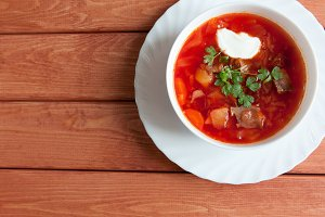 Ukrainian and russian national red borscht of vegetables and meat