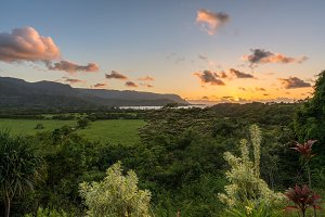 View of Hanalei at sunset