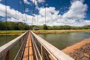 View of the famous swinging bridge in Hanapepe Kauai