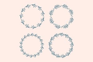 Botanical Wreath Vector Set 1