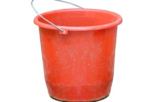 Red Plastic Bucket Isolated