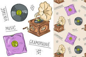 "Pattern and set ""Gramophone&vinyl"""