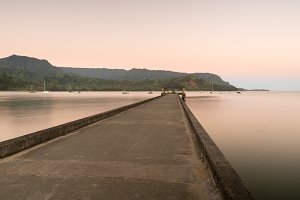 Dawn and sunrise at  Hanalei Bay and Pier on Kauai Hawaii