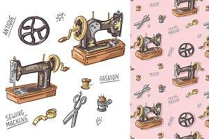 "Pattern and set ""Vintage machine"""