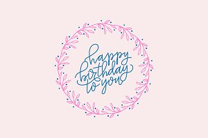 Hand Lettered Birthday Wreath Vector