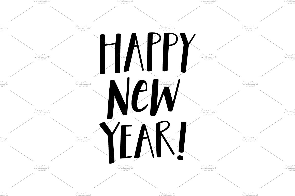 Hand Lettered Happy New Year Vector ~ Illustrations ~ Creative Market