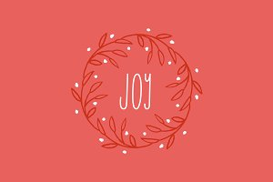 Whimsical Joy Wreath Vector