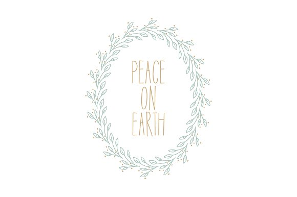 Peace On Earth Wreath Vector