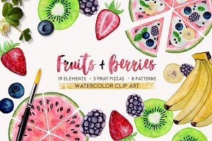 FRUITS + BERRIES watercolor set