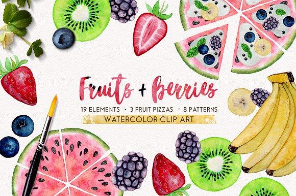 FRUITS BERRIES Watercolor Set