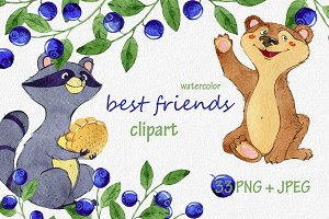 watercolor best friends