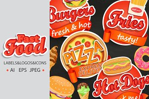 Fast food labels, logos, icons.
