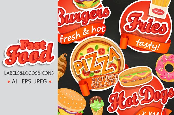 Fast Food Labels Logos Icons