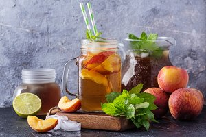 Peach ice tea in the jars