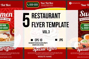 5 Restaurant Flyer Template vol.3