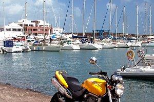 Motorcycle at the marina